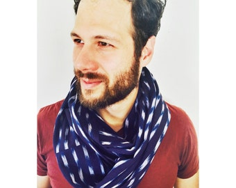 Men's/Women's Blue and White Ikat Infinity Scarf