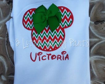 Minnie Mouse Christmas Embroidered Shirt- Red and Green Chevron- Minnie Mouse Applique- Christmas Shirt- Custom- Disney- Vacation