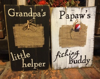 "Grandpa's little helper, Papaw""s fishing buddy frames"