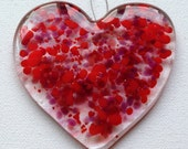 Red Hanging Heart, Heart Suncatcher, Red Suncatcher, Hanging Heart Decoration, Red Glass Gift, Glass Hanging Gift, Ruby Anniversary Gift,