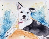 15% OFF SALE!  Custom Pet Portraits / Pitbull / 9 x 12 samples / mixed media portrait from your photos / Original paintings