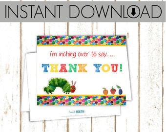 Thank You Cards - Eric Carle Hungry Caterpillar - Instant Download Printable