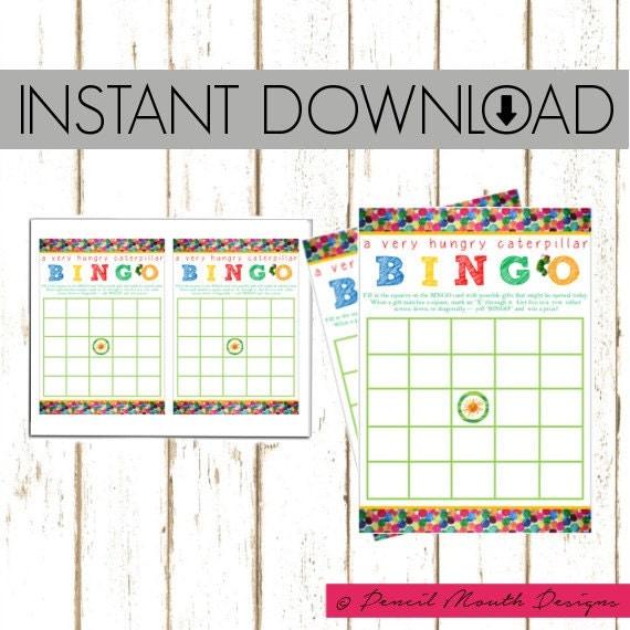 Baby Gift Bingo : Baby shower gift bingo eric carle hungry caterpillar