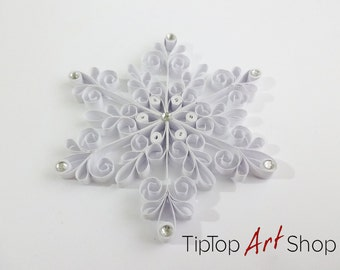 Quilled Christmas Snowflake Ornament in White with Rhinestones; Winter Decoration; Christmas gift;
