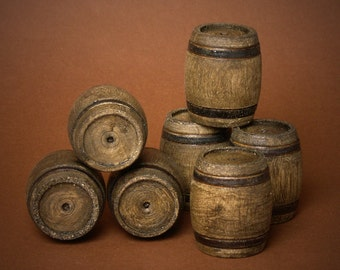 Miniature Wooden Barrel Dark Nut for Your Dollhouse