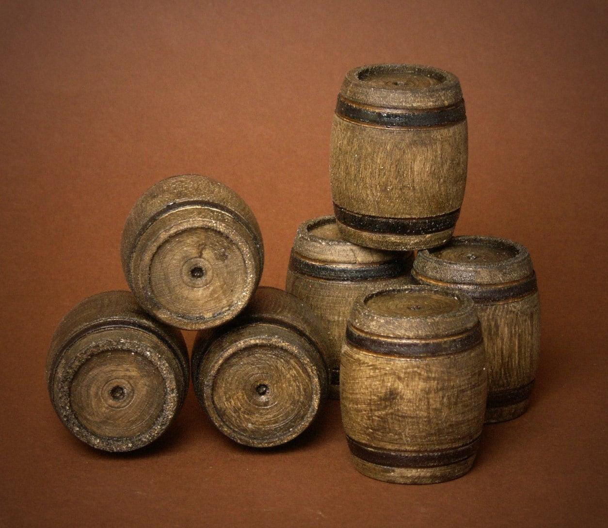 miniature wooden barrel dark nut for your dollhouse. Black Bedroom Furniture Sets. Home Design Ideas
