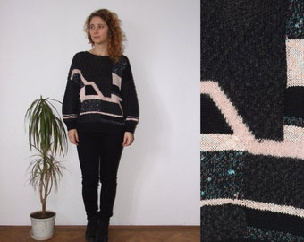 80's vintage women's black-pink geometric patterned knitted sweater