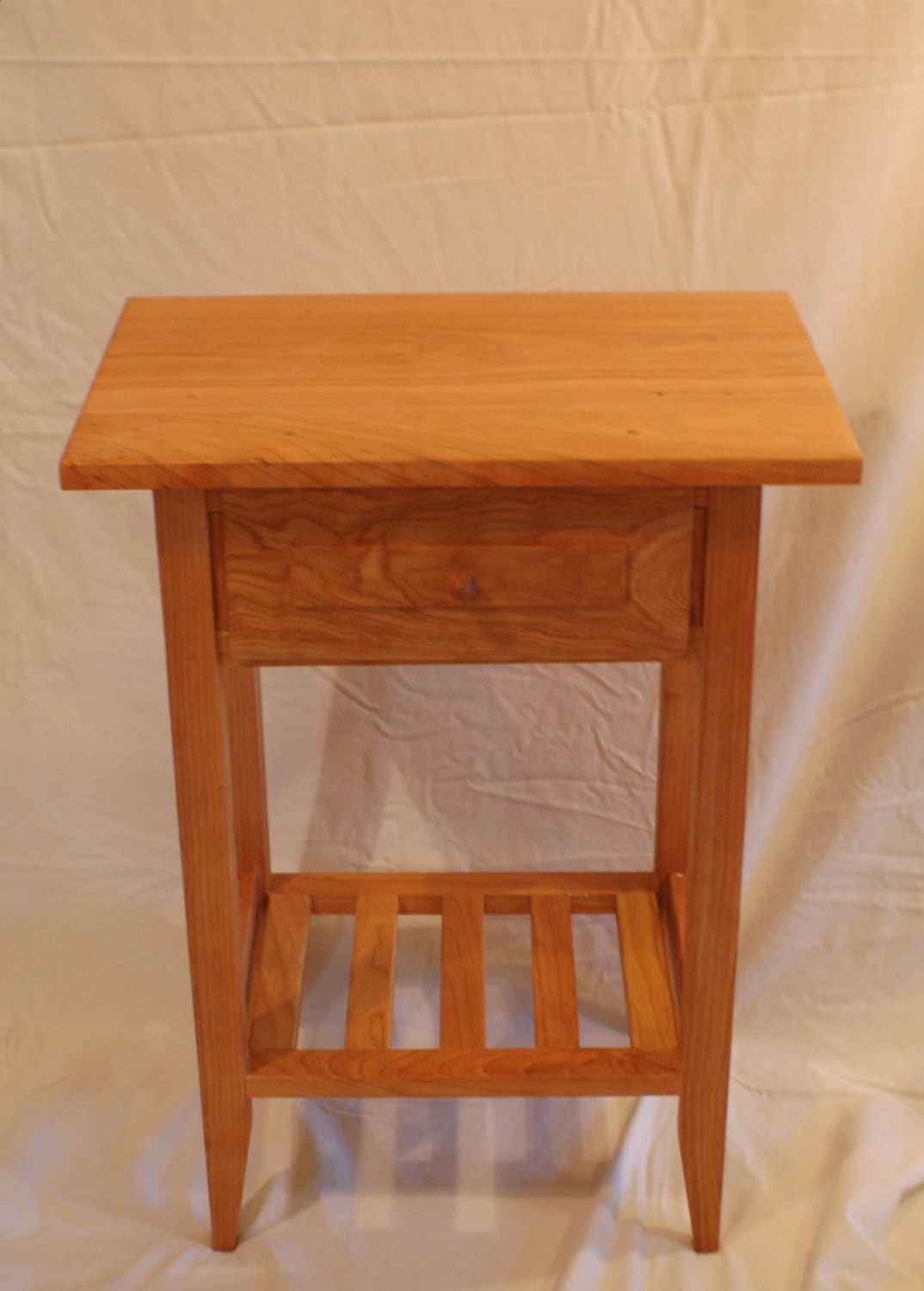 Cherry Shaker Style Nightstand End Table With Drawer And