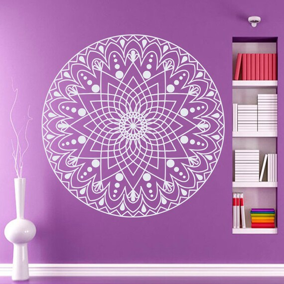 Wall decals mandala indian pattern yoga oum om sign by for Mural mandala
