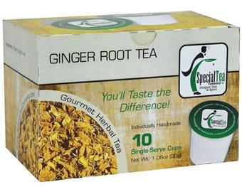 Ginger Root, Single Serve Herbal Tea Pod (Pack of 10)