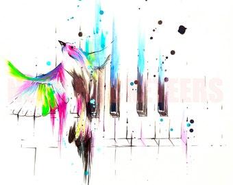 18x24 Song Bird Original Watercolor Sparrow Finch Piano Art Print