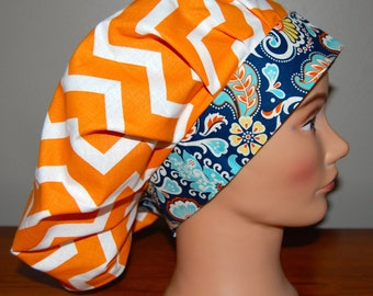 Women's Surgical Bouffant Scrub Cap, Chemo Cap, Orange/White Chevron, Navy Aqua Yellow Large Paisley. Velcro Closure, One size fits most
