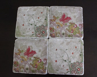 Butterfly Marble Coaster Set