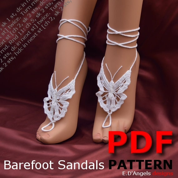 Barefoot sandals | crochet | pattern |  foot jewelry | BUTTERFLY