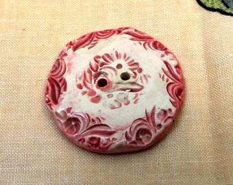 124: Big Rose Pink Ceramic Button