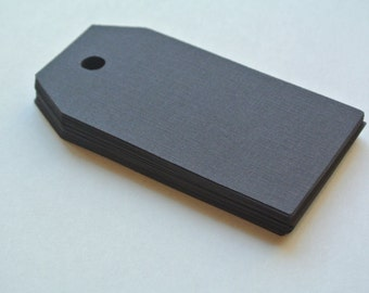 Set of 30 solid black blank tags