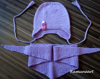 Set of handmade lilac (purple) scarf and hat for baby / wool hat and scarf / Children scarf and hat