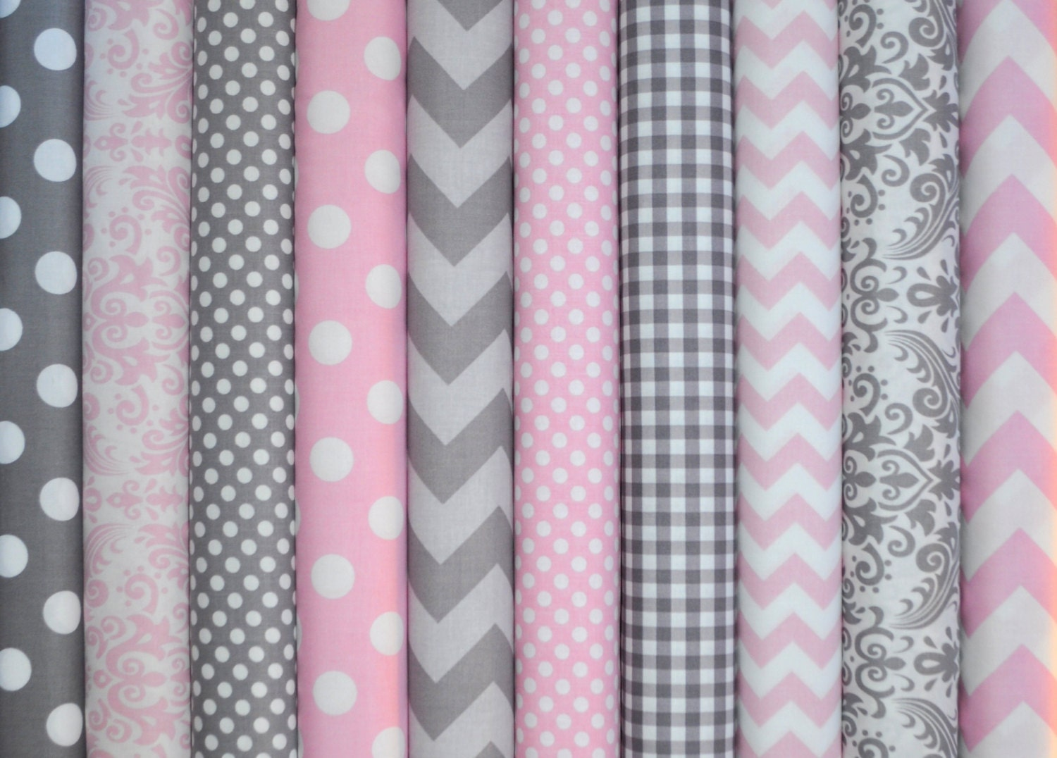 Gray and baby pink bundle of chevron dots by for Grey baby fabric
