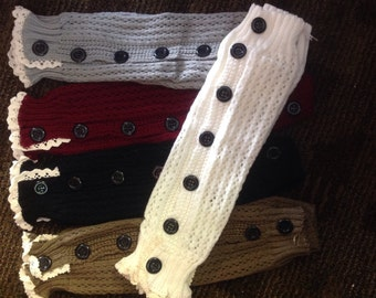 Knit button down Leg Warmers with lace for women and teens