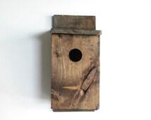 owl house, birdhouse, nest box, large birdhouse, wooden birdhouse, wonderful wood character, handmade, primitive, vintage