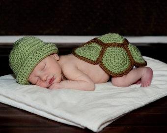 Newborn Turtle Photography Prop Set, Turtle Shell, Baby Turtle Costume
