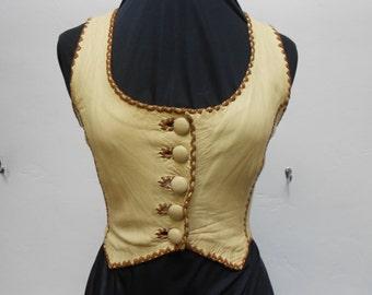 vintage 70s north beach leather vest whipstich