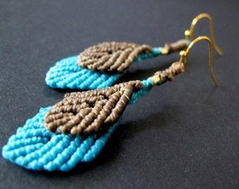 Leaves earrings - macrame earrings - micro macrame earrings - boho leaves - bohemian - woodland jewelry - woodland earrings