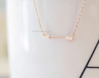 Tiny Rose Gold Arrow Necklace, Affordable Charm Necklace, Tiny arrow Charm, wedding, bridesmaid, birthday gifts, Necklaces for Women