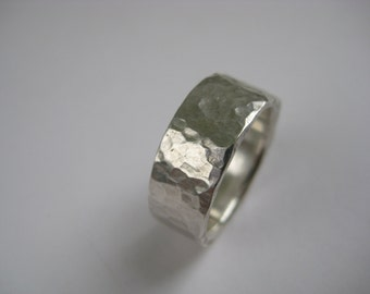Wide, handforged, hammered texture silver ring