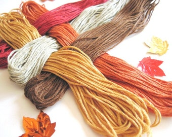 5 Skeins Set of Cross Stitch Floss - 100 % cotton Floss - Fall 1