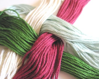 4 Skeins Set of Cross Stitch Floss - 100 % cotton Floss - holiday 1