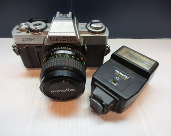 1983 Minolta XG-1 (n) With Rokkor-X 28mm 2.8 Camera Lens And Bonus Free Flash