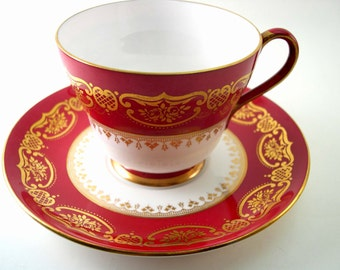 Antique SHELLEY Tea Cup And Saucer, Marroon Red and white tea cup and saucer, Shelley china Red tea cup.
