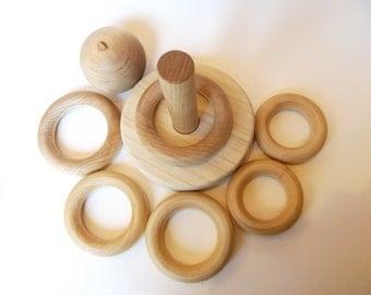 Wooden Stacking Rings Baby Teething Toddler Toy Baby Gift
