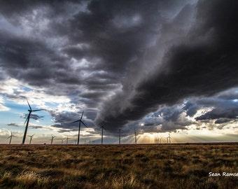 Oklahoma Photography, Wind Farm Print, Storm Photography, Windmill Photo, Wind Energy, Landscape Photography, Photography Sky, Wall Print