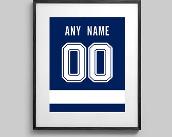 Tampa Bay Lightning Poster - Blue Jersey Print Custom Made - Select ANY Name & ANY Number - 5x7 - 8x10 - 16x20
