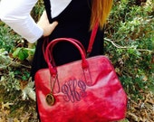 Monogram  Purse/ crossbody tote handbag / monogram bag pocketbook in Red