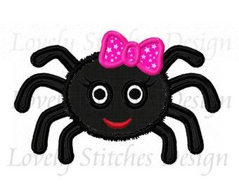 Halloween Girl Spider Applique Machine Embroidery Design NO:0249