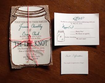 RusticMason Jar Wedding Invitations with burlap-100