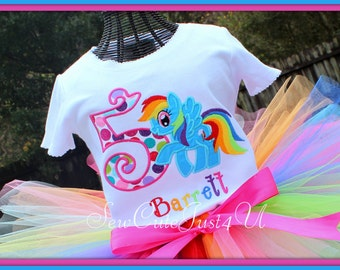 Rainbow Dash My Little Pony Themed Birthday Number Shirt