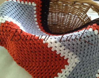 Orange Crochet Afghan Baby Blanket Throw Blanket Orange Granny Square Gray White Brown