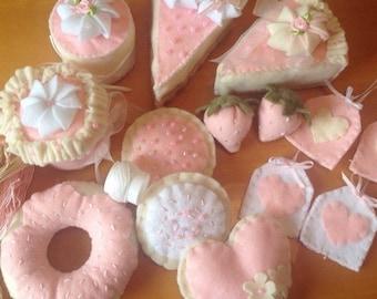 Beautiful Pink Tea Set Felt Food for two
