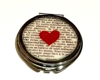 HEART COMPACT MIRROR - Heart mirror - bridesmaid gift - gift for bride - compact mirror - pocket mirror - valentine's gift - girlfriend gift