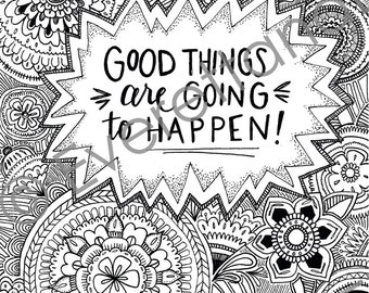 "Digital Download ""Good Things"" Coloring Page"