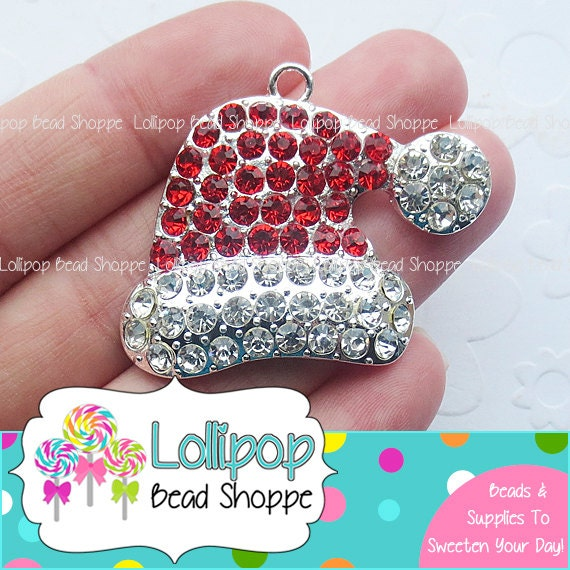 44mm red santa hat rhinestone pendant christmas pendants for Red hat bling jewelry