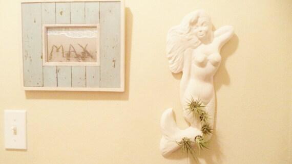 Mermaid vertical wall planter, nautical decor, air plant holder, indoor garden