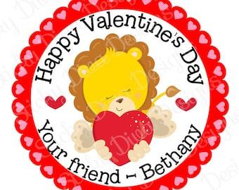 PERSONALIZED VALENTINE STICKERS - Little Lion Cutie Design  - Round Gloss Sticker Labels