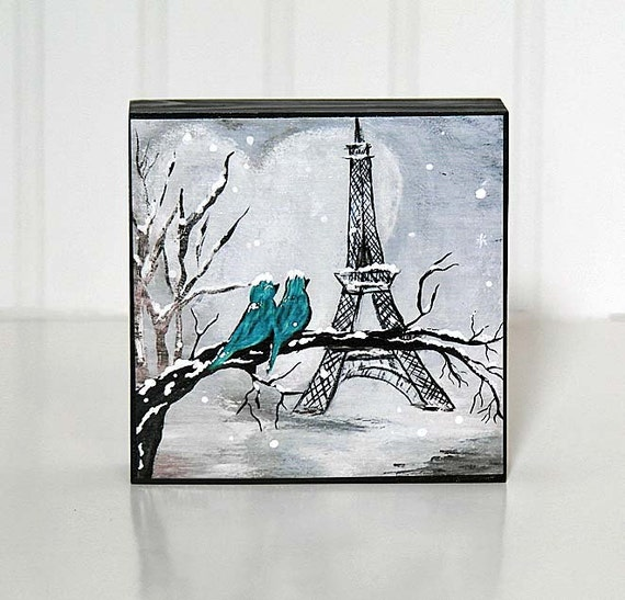 Wood 5th Anniversary Gift Eiffel Tower Art Teal Love Birds Wedding ...