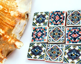 set of 9 Buttons. Beautiful replica of Portugues Tile.