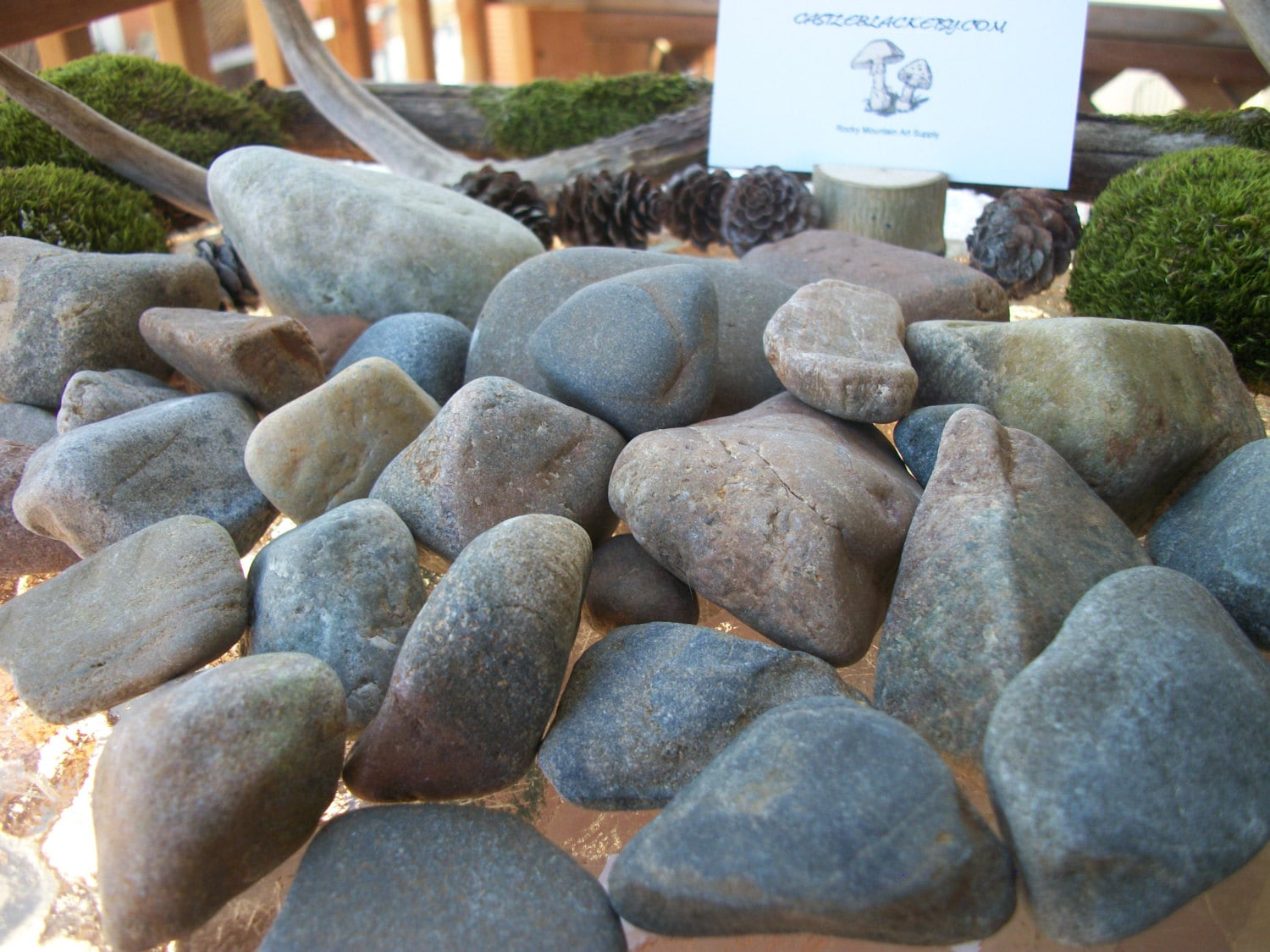 Smooth stones assorted hues desktop garden by for Smooth stones for landscaping